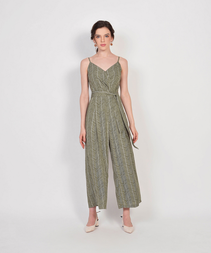 Sierra Striped Jumpsuit - Olive