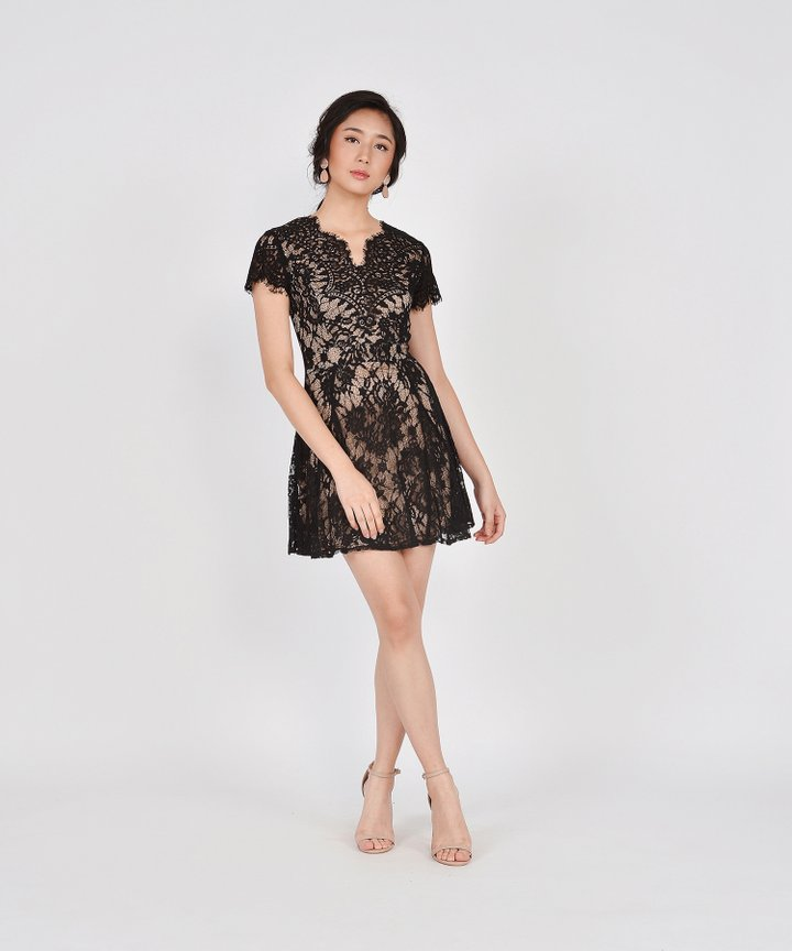 Chantilly Lace Dress - Black