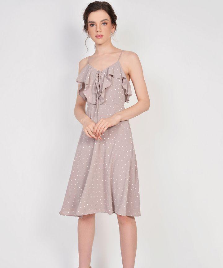 Lula Polka Ruffle Dress - Pale Mauve