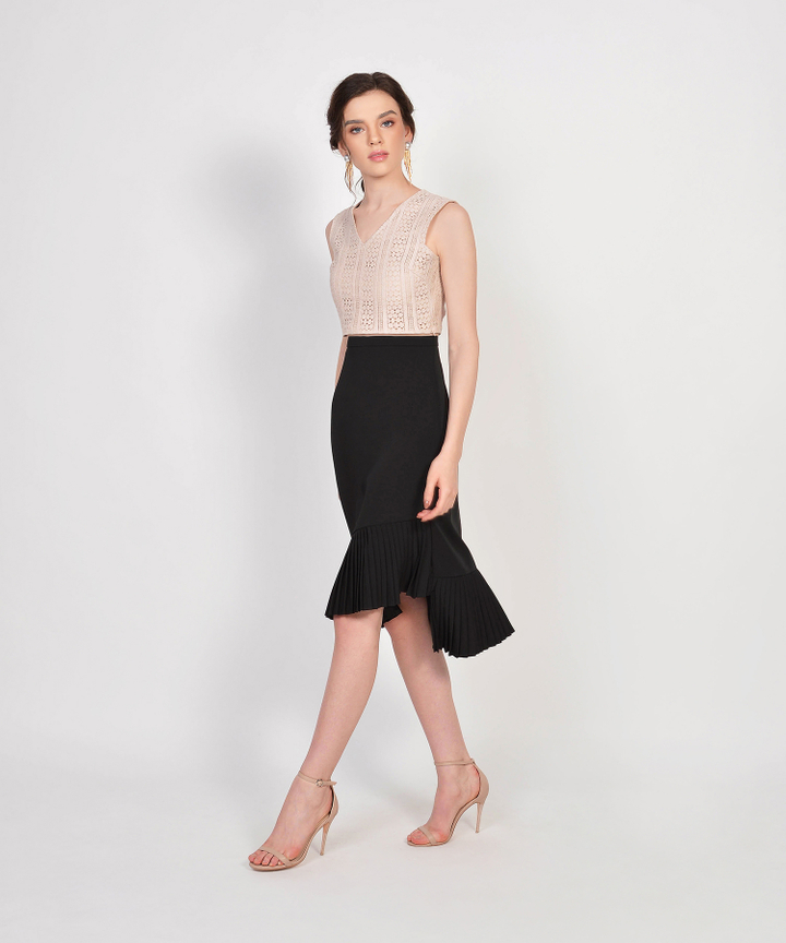Cecilia Eyelet Cropped Top - Pale Nude