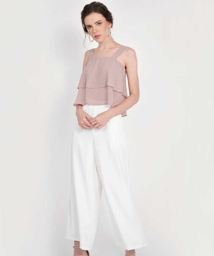 Gwyneth Textured Tiered Top - Dust Pink