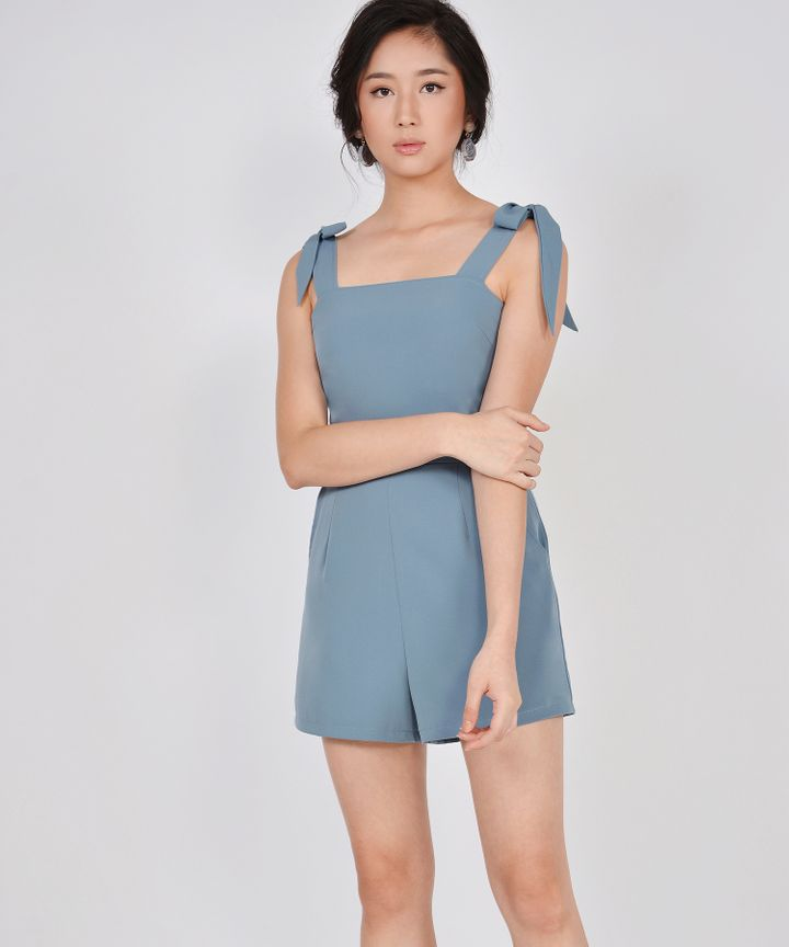 Caraway Bow Playsuit - Mist Blue