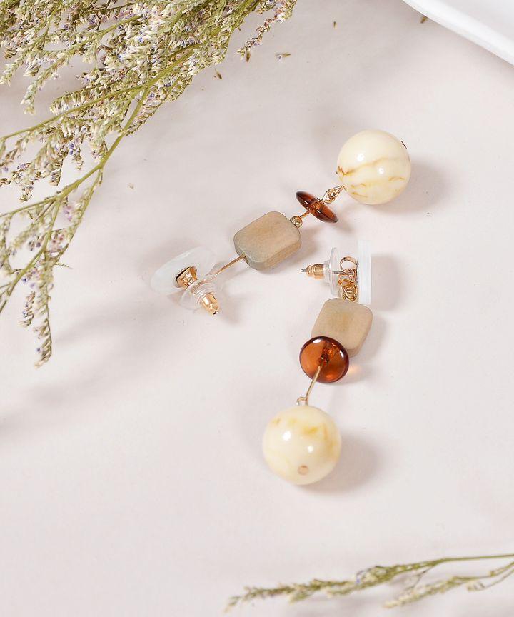 Decker Drop Earrings - White