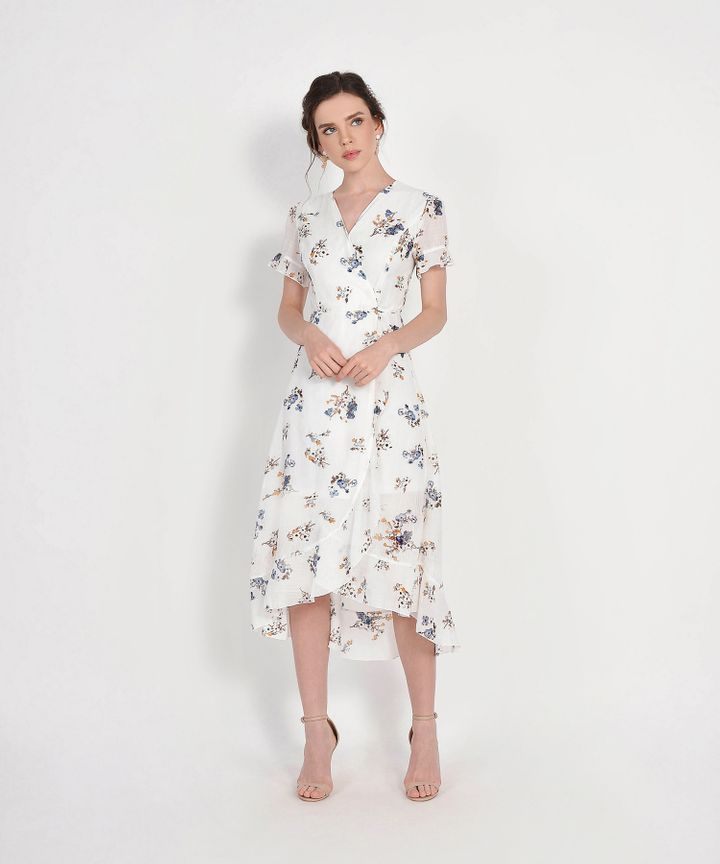 Ariela Floral Overlay Dress - White (Restock)