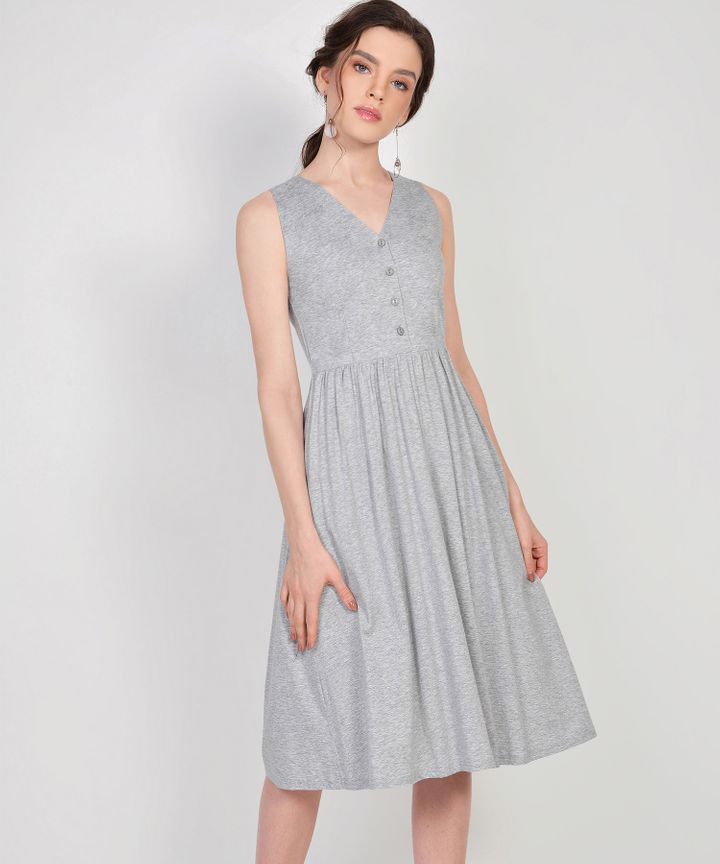 Aida Cotton Button Midi - Heather Grey