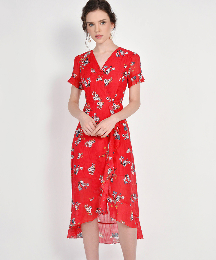 Ariela Floral Overlay Dress - Scarlet