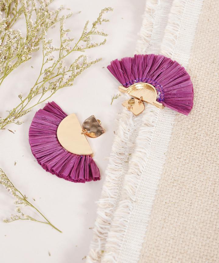 Koji Fan Earrings - Plum