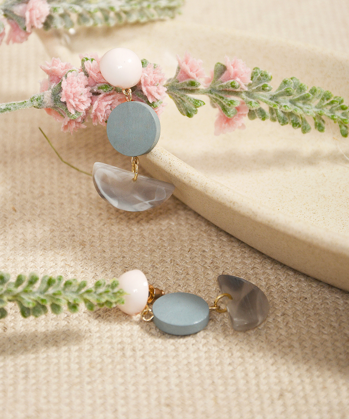 Sundae Semi-Circle Earrings - Blue
