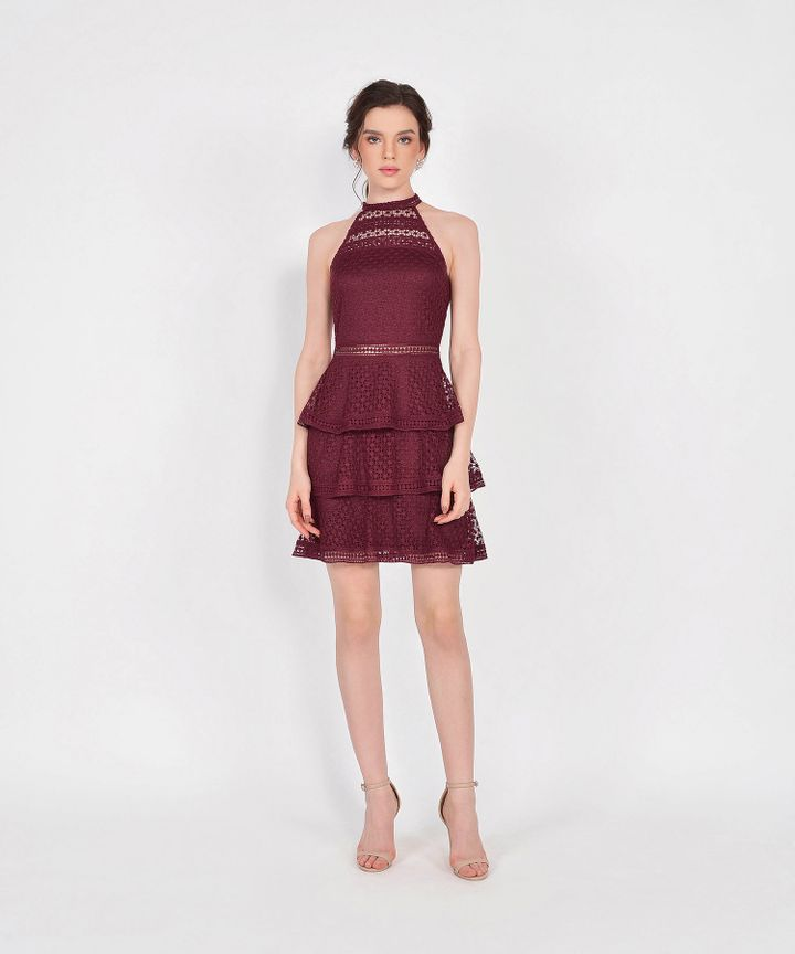 Lisbeth Crochet Tiered Dress - Wine