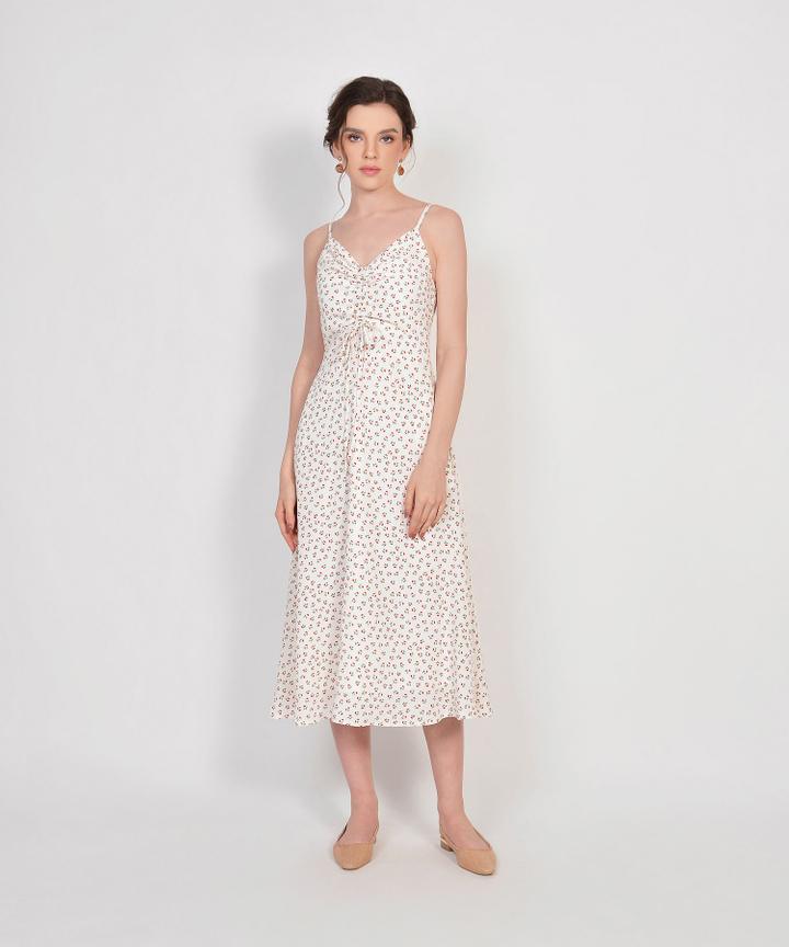 Hazel Floral Ruched Dress - White