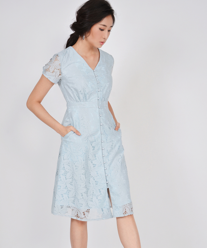 Lumiere Lace Midi Dress - Pale Blue