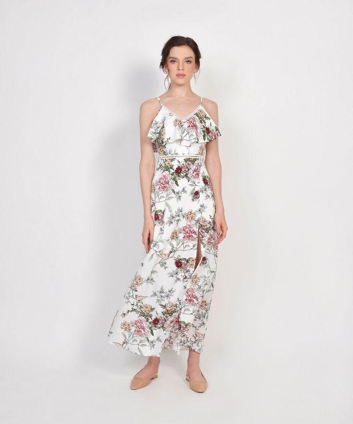Megumi Floral Ruffle Maxi Dress - White