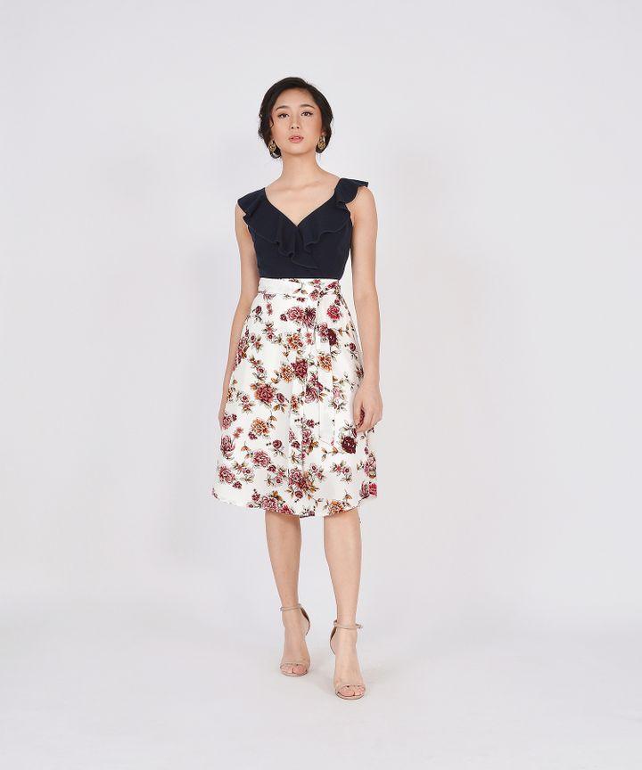 Valencia Floral Midi Skirt - White