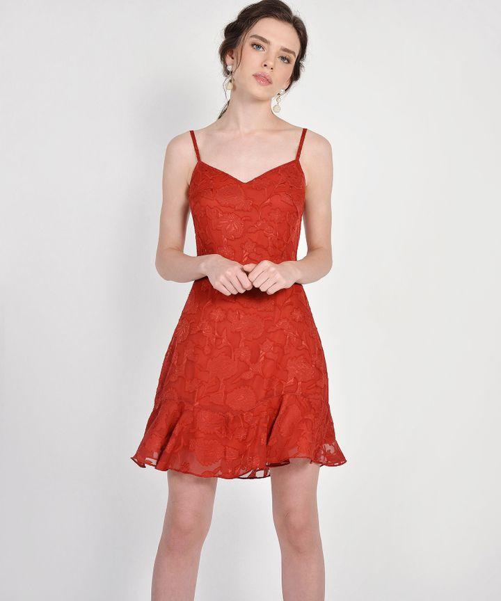 Clair Chiffon Jacquard Dress - Dark Vermillion