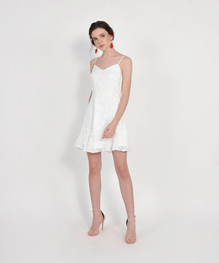 Clair Chiffon Jacquard Dress - White