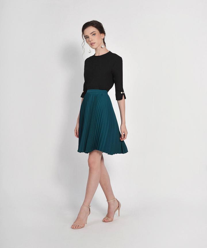 Vanity Fair Pleat Skirt - Teal