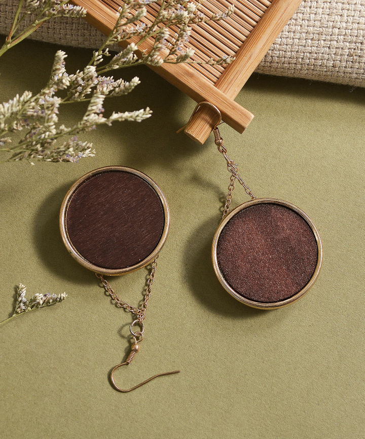 Chorus Wooden Circular Earrings