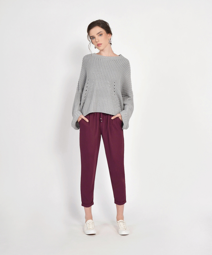 Zelda Relaxed Trousers - Burgundy