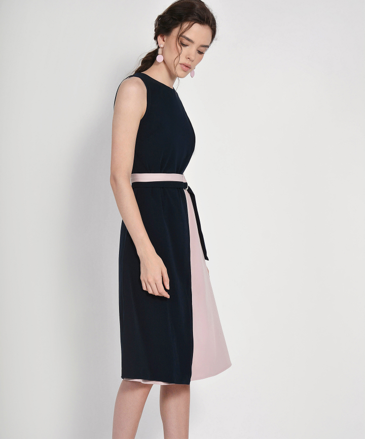 Panama Contrast Belted Midi - Navy