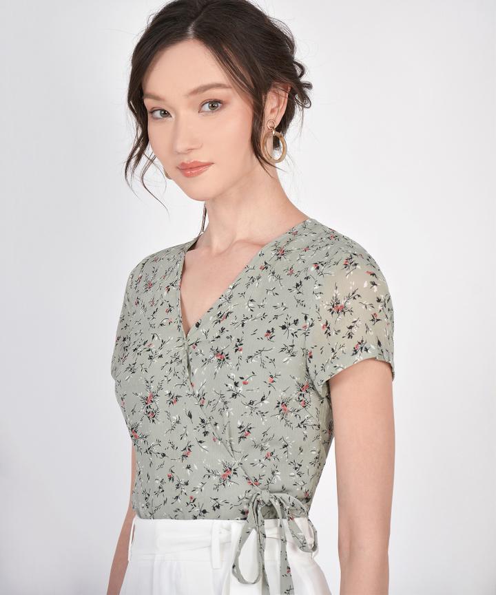 Allie Floral Wrap Top - Sage