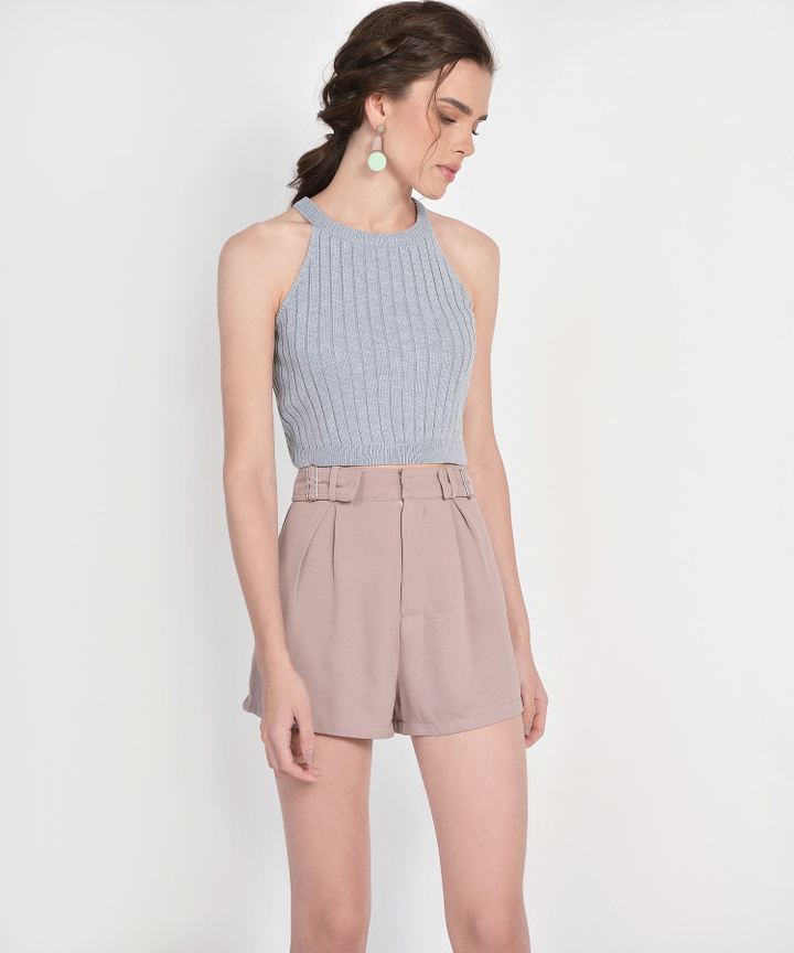 Whitney Halter Knit Cropped Top - Grey (Restock)