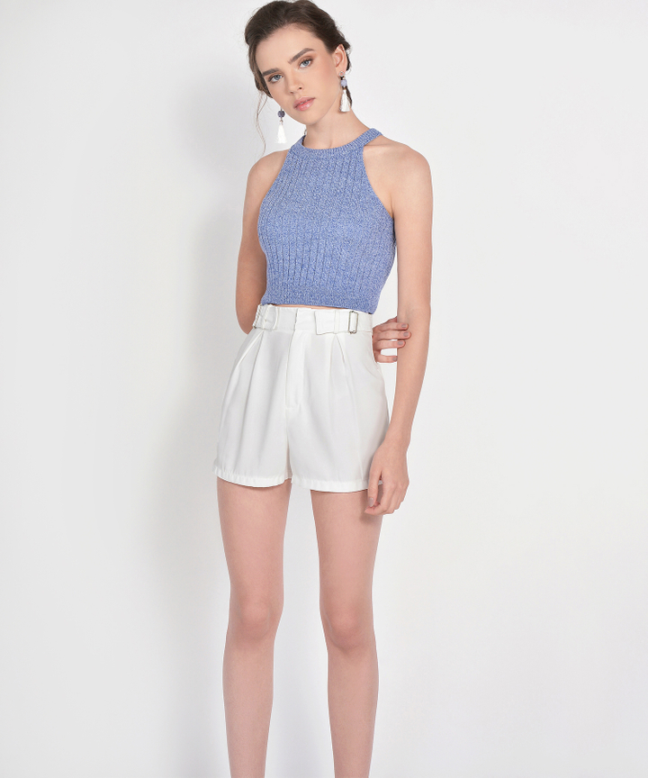 Whitney Halter Knit Cropped Top - Periwinkle Blue (Restock)