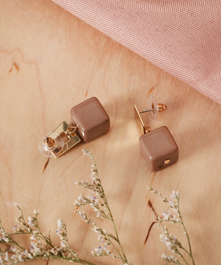 Mocha Cube Earrings