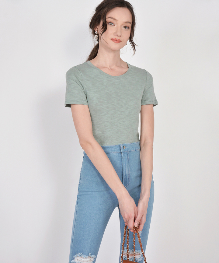 Denver Basic Tee - Dust Jade