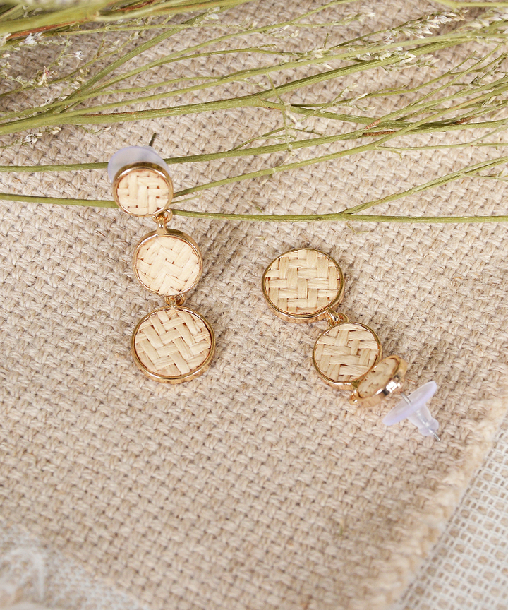 Cove Woven Tiered Earrings - Cream