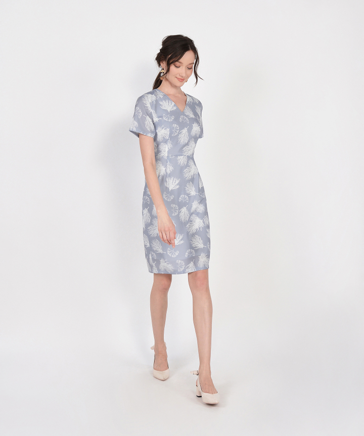 Lena Printed Midi - Blue Grey