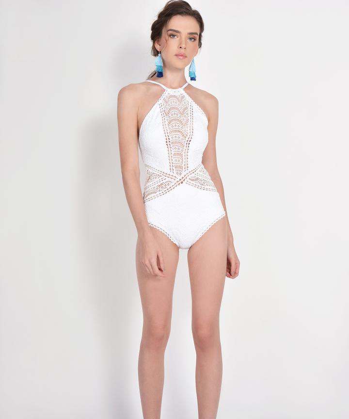 Yvette Crochet Monokini - White