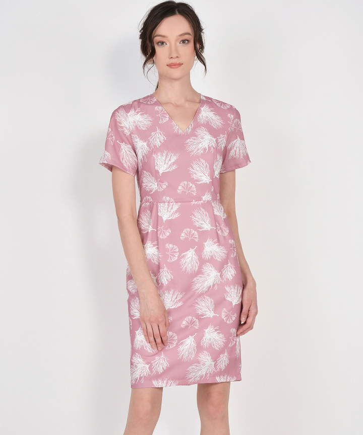Lena Printed Midi Dress - Carnation Pink