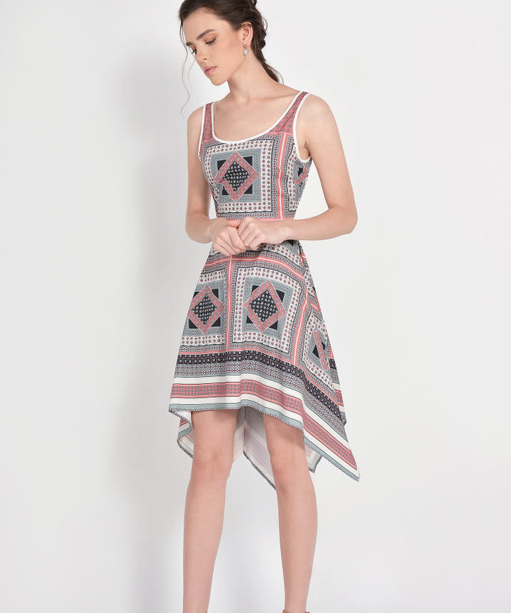 Pandora Printed Asymmetrical Dress