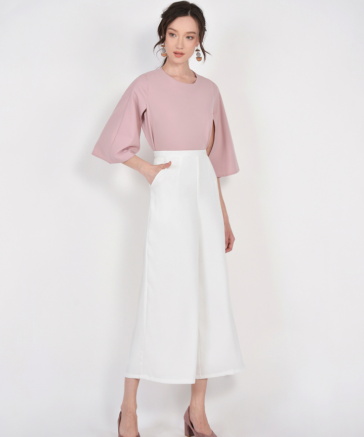 Carly Cape Blouse - Dust Pink
