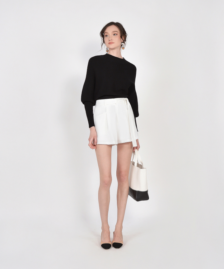 Elodie Belted Shorts - White (Backorder)