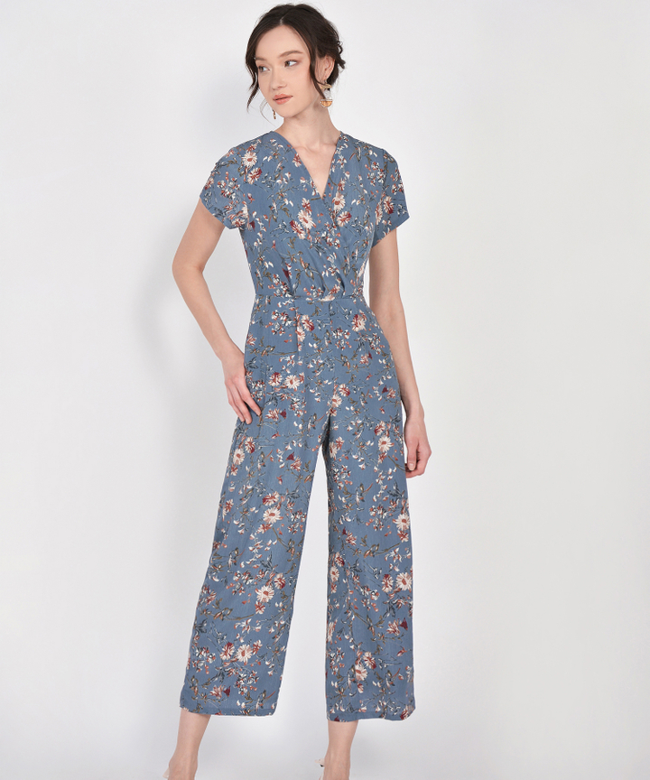 Rosa Floral Jumpsuit - Dust Blue