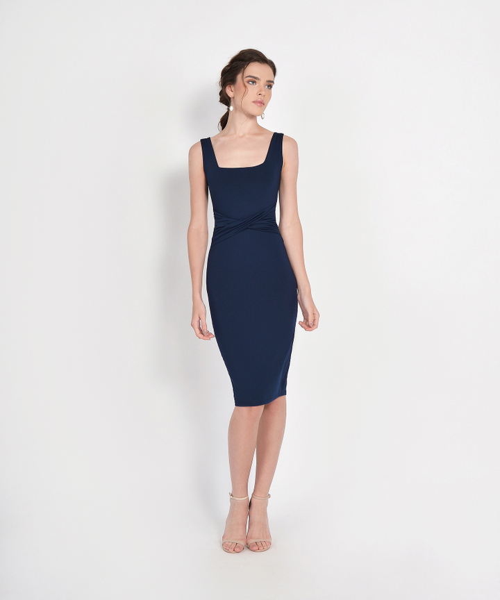 Loren Square Neck Knit Midi - Navy (Backorder)