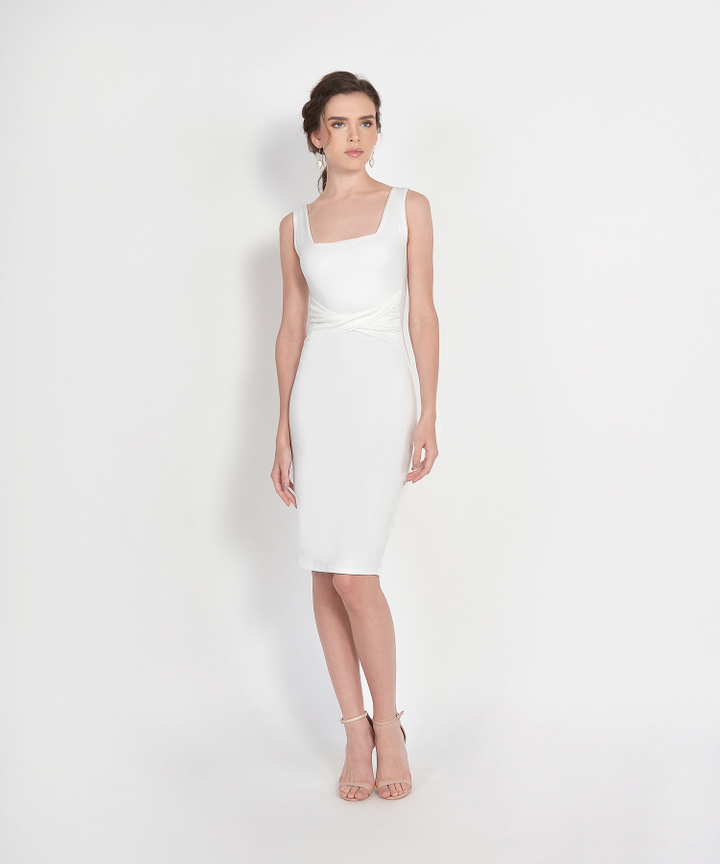 Loren Square Neck Knit Midi - White (Backorder)