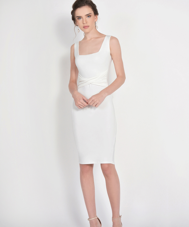 Loren Square Neck Knit Midi - White (Restock)