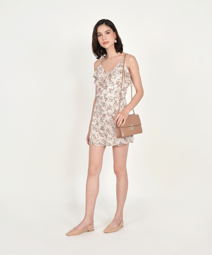 Shirley Floral Ruffle Playsuit - Cream