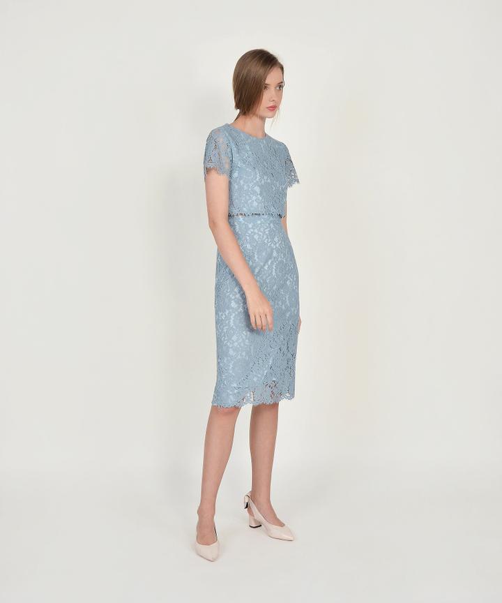 Marie Lace Midi Skirt - Mist Blue