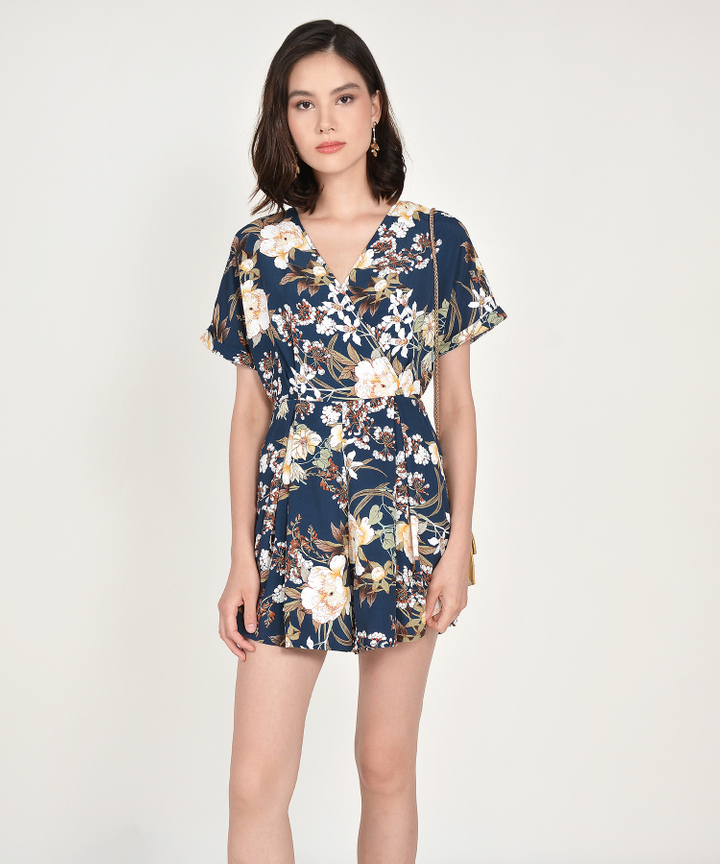 Ceres Floral Kimono Playsuit - Navy (Backorder)