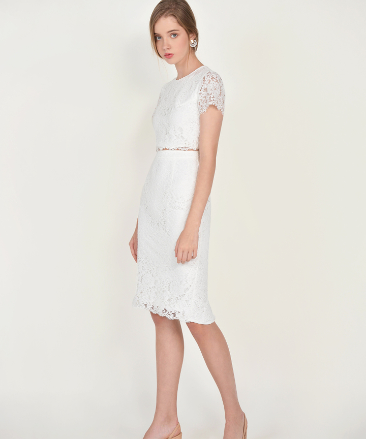 Marie Lace Midi Skirt - White (Backorder)