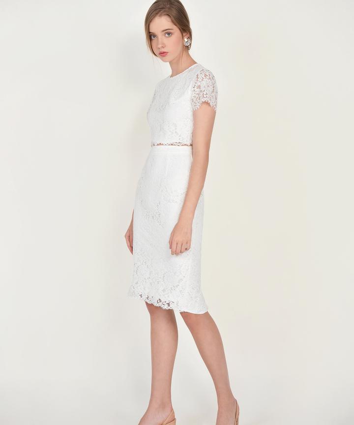 Marie Lace Midi Skirt - White (Restock)