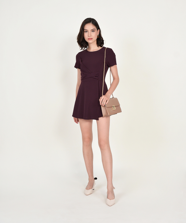 Gail Overlay Playsuit - Burgundy
