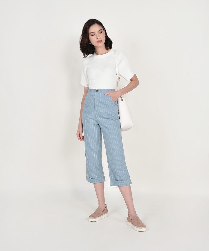 Amara Ribbed Knit Top - White