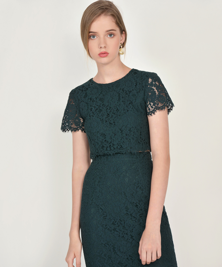 Marie Lace Midi Skirt - Forest Green (Backorder)