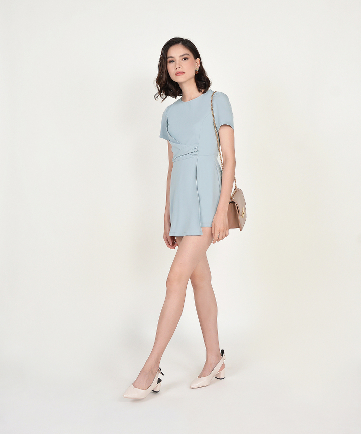 Gail Overlay Playsuit - Pale Blue