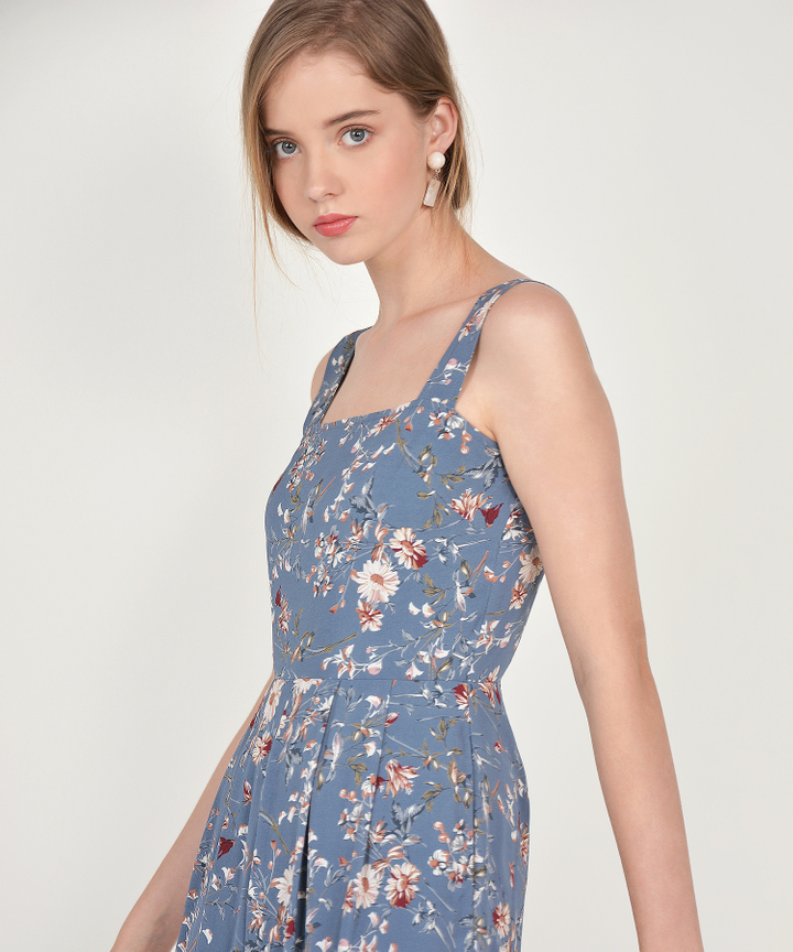 Elowen Floral Jumpsuit - Dust Blue