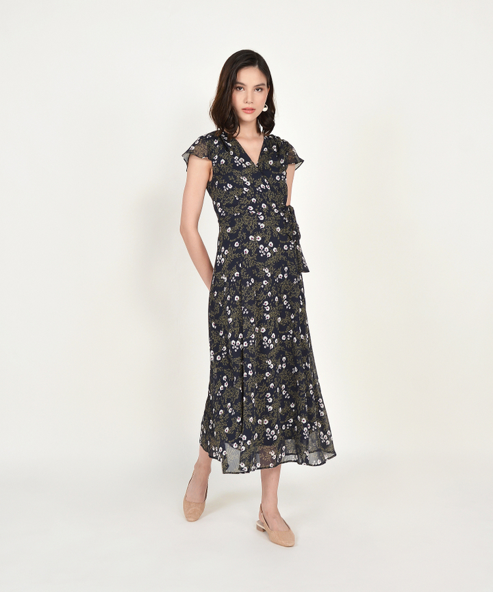 Candice Floral Maxi - Midnight Blue